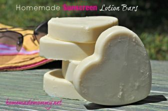 Homemade Sunscreen Lotion Bars from the Homemade Mommy. All natural ingredients and less mess than lotions.