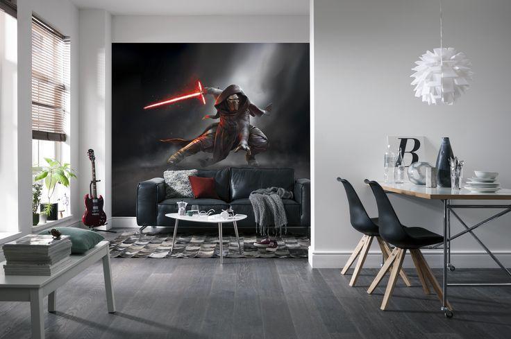"""Furchteinflößender Bösewicht mit leuchtend rotem Retro-Lichtschwert – der geheimnisvolle Sith-Lord Kylo Ren ist Mitglied der First Order und eiskalter Vertreter der dunklen Seite der Macht. (Fototapete """"Star Wars Kylo Ren"""", 8-491)"""