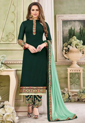 c3112fa795 Embroidered Georgette Pakistani Suit in Dark Teal Green   Dec 2015 ...
