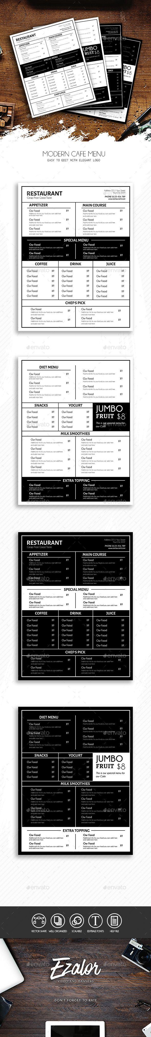 Modern Cafe - Food Menus Print Templates