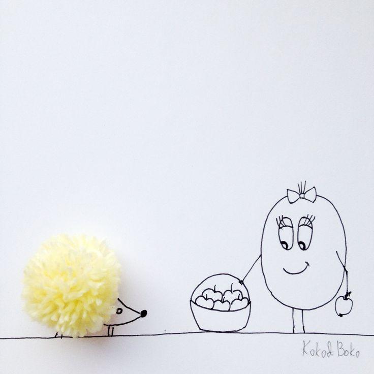 :) #kokoboko #koko #story #cute #smile #fun #hedgehog #pompon #yellow #art #illustration #drawing