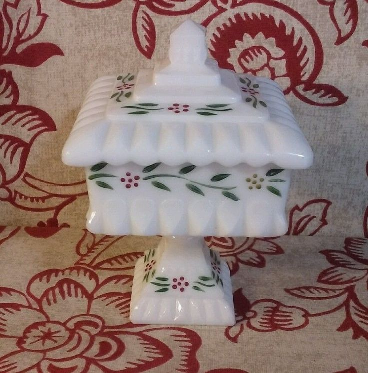 Westmoreland Wedding Jar Covered Compote Candy Dish Milk Glass Lid Bowl Box with #Westmoreland