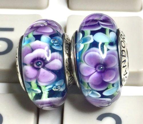 2-Pandora-925-Ale-silver-murano-beads-charm-glass-dark-purple-flowers