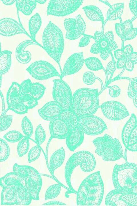 LACEY Floral Aqua Wallpaper