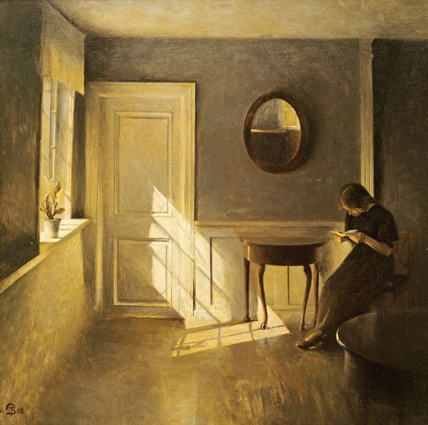 A Girl Reading In An Interior   – ARTIST (Skagen):  ILSTED, Peter