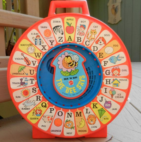 See N Say The Bee Says Vintage Mattel Pull String Talking Educational Toy (designed in 1965) *my grandma kept one until the late 90's*