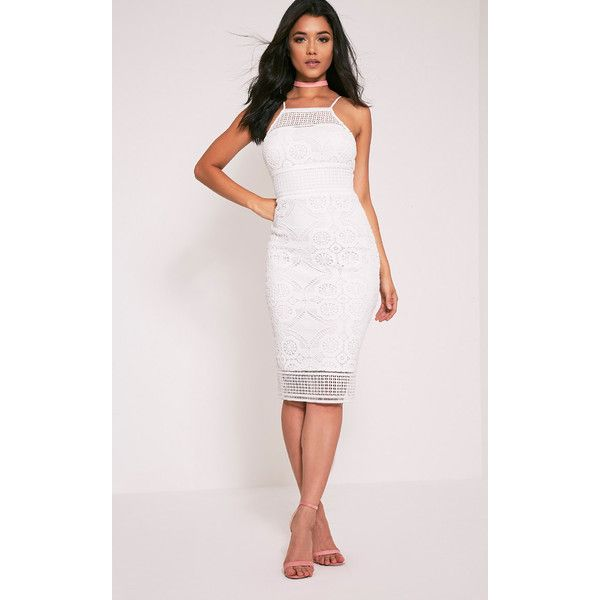 Dahlia White Crochet Lace High Neck Midi Dress ($25) ❤ liked on Polyvore featuring dresses, white, metallic dress, white dress, white going out dresses, high neck midi dress and mid calf dresses