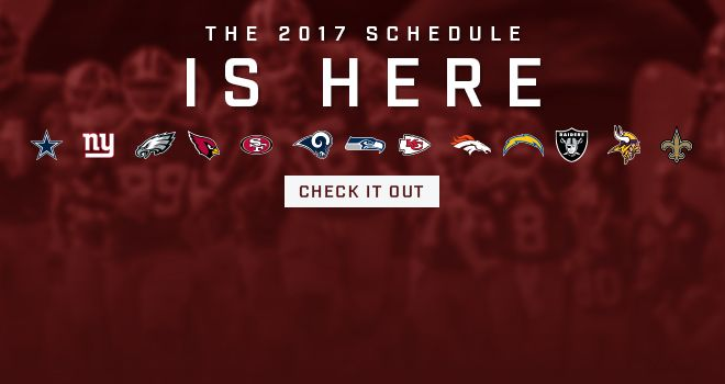 The Washington Redskins have released their 2017 regular season schedule, which includes five primetime games on the 16-game slate including back-to-back Thursday night NFC East matchups in November.