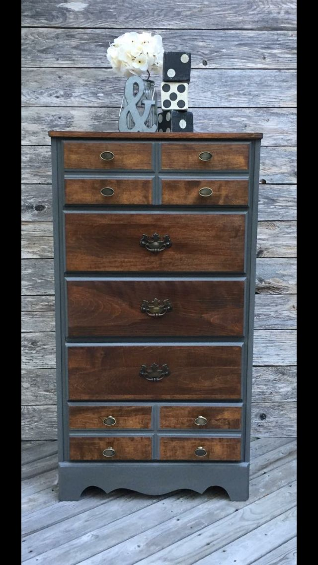 Refinished tall boy dresser done in AS chalk paint, and walnut stain. New hardware added.https://www.facebook.com/ThePaintedTwigTantallonNovaScotia/