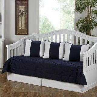 Cabana Navy Blue and White 5-Piece Cotton Daybed Set | Overstock.com Shopping - The Best Deals on Daybed Covers