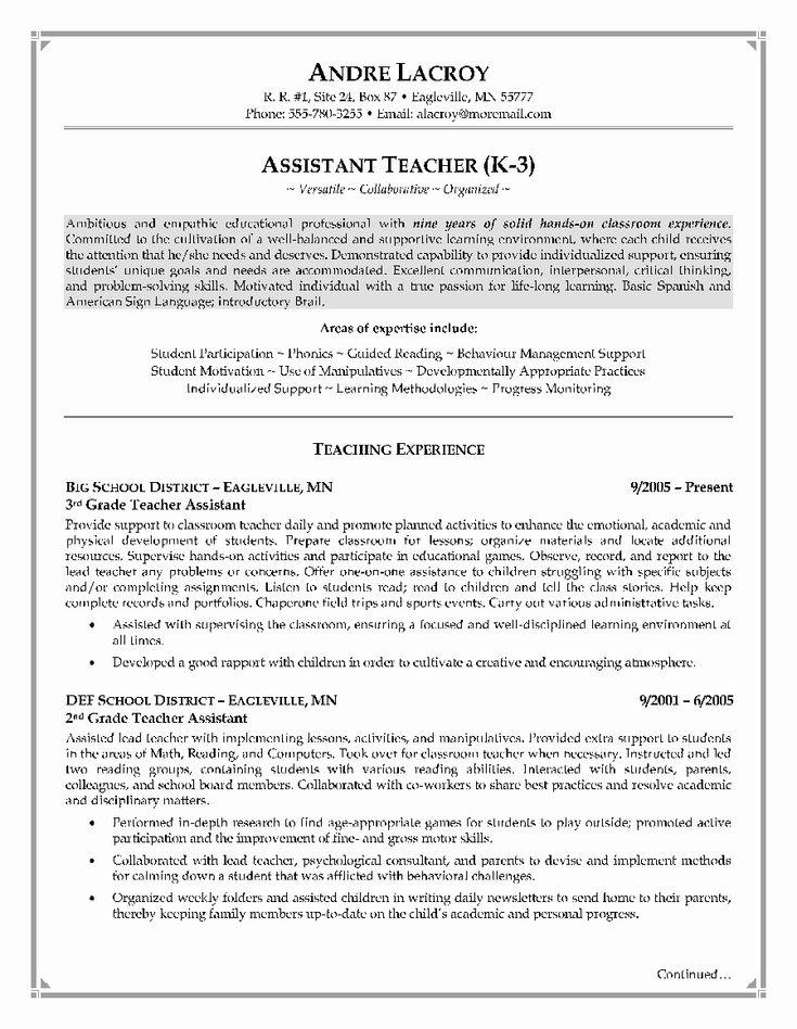 23 Teacher assistant Resume Examples in 2020 Teacher