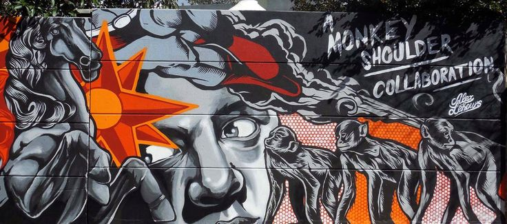 Detail of long mural by Alex Lehours, with Monkey Shoulder Whiskey, and presented by Authority Clothing in Newtown, Australia