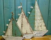 Wooden Sailboat Sailing Ship Sign Large Turquoise White Beach House Decor