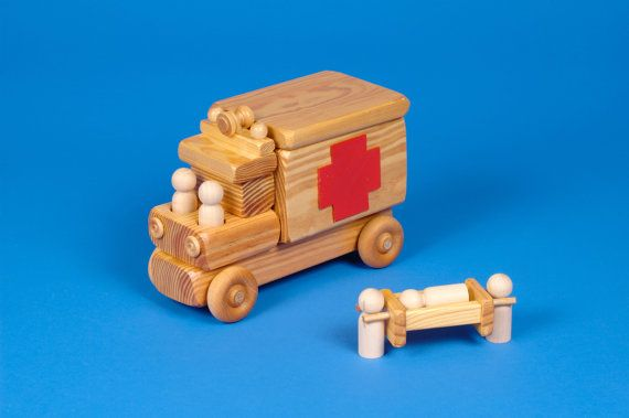 EMS~Wooden Toy Ambulance by Toycrafter on Etsy