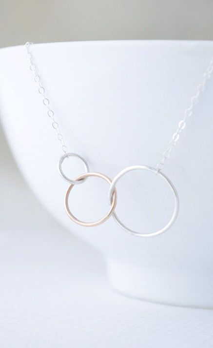 Three Ring Necklace Gold and Silver Triplet
