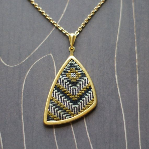 Southwest sun cross stitch necklace/ pendant gold by TheWerkShoppe, $38.00