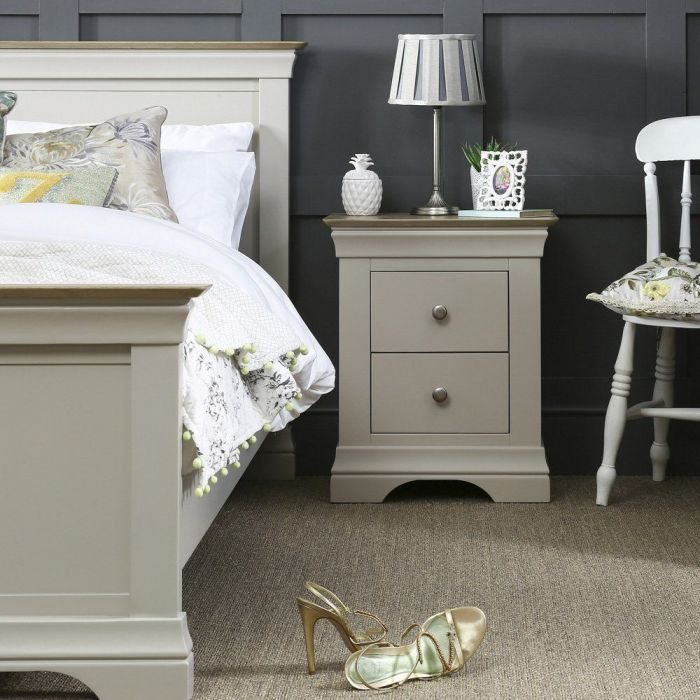French Country Grey Painted Oak 2 Drawer Bedside Table Oak Furniture Living Room Grey Painted Furniture Oak Bedroom Furniture