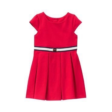 Crimson Pleated Ponte Dress at JanieandJack
