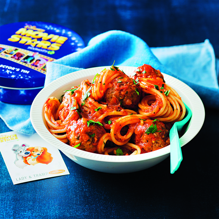 A classic dish that even the kids will enjoy making! #LadyAndTheTramp #Disney #Spaghetti #Meatballs #CookingWithKids