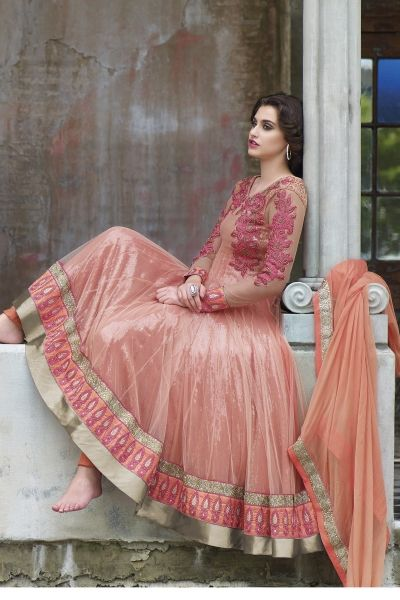 Peach Faux Georgette Anarkali Suit with Embroidery and lace work