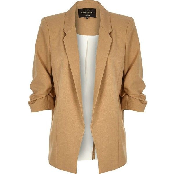 River Island Beige ruched sleeve blazer ($110) ❤ liked on Polyvore featuring outerwear, jackets, blazers, beige, coats / jackets, women, beige blazer, beige jacket, river island jacket and blazer jacket