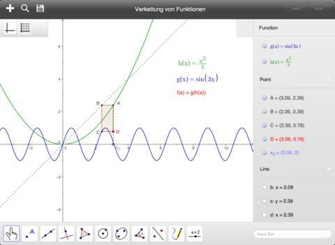 GéoGébra : Logiciel de maths dynamiques mondialement connu. Apprendre. Enseigner. Partager. GeoGebra (www.geogebra.org) est un logiciel de mathématiques dynamiques, pour tous les niveaux d'éducation, qui intègre en un seul outil d'utilisation aisée : géométrie, algèbre, feuilles de calcul, représentations graphiques, statistiques et calculs différentiels.