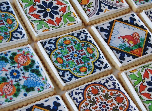 Delft Tile Cookies  by Whipped Bakeshop: Cake, Tile Cookies, Sweet, Food, Decorated Cookies, Delft Tile, Sugar Cookie