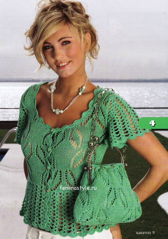 Ажурная блузка и сумка спицами