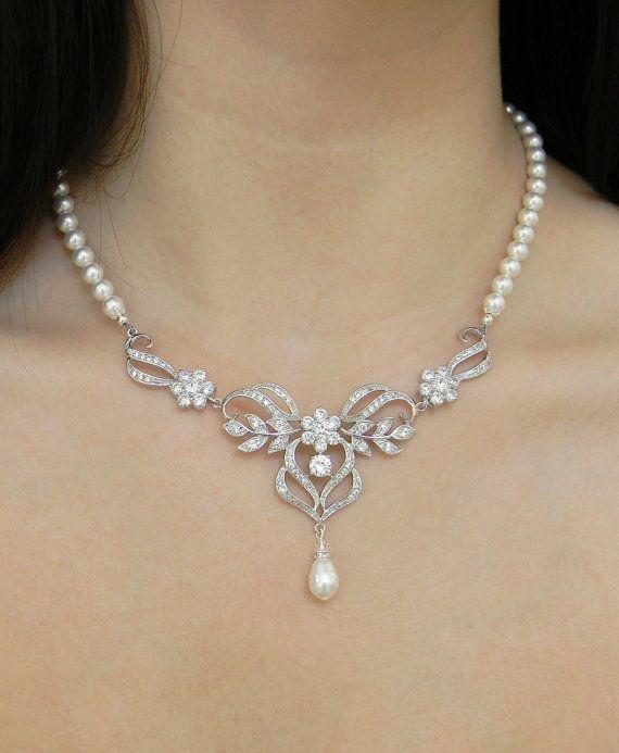 Bridal Jewelry, Pearl Wedding Necklace, Wedding jewelry, Crystal Necklace, Bridal Earrings, Kathryn Necklace on Etsy, $98.00