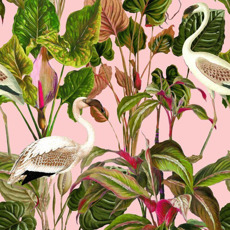 Tropical Wallpaper, Pink Wallpaper, Cool Wallpaper, Pattern Wallpaper, Bathroom Wallpaper, Mind The Gap, Nautical Design, Eclectic Design, Interior Design