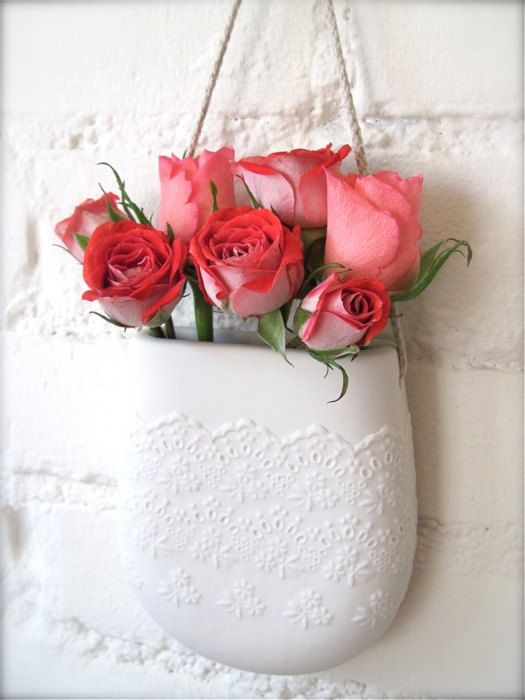Porcelain Flower Lace Hanging Wall Pocket by Hideminy on Etsy, $75.00
