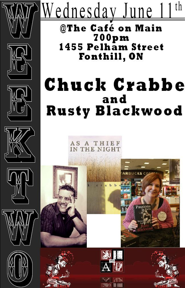 TODAY, Wednesday, 11 June, 7:00pm, Chuck Crabbe will read from his novel As a Thief in the Night at Cafe on Main (Pelham), 1455 Pelham Street, Fonthill, as part of The Niagara Literary Arts Festival.  Learn more about Chuck's novel AS A THIEF IN THE NIGHT at http://www.open-bks.com/library/moderns/as-a-thief-in-the-night/about-book.html