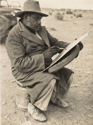 Albert Namatjira, famous Indigenous watercolour artist at home in outback…