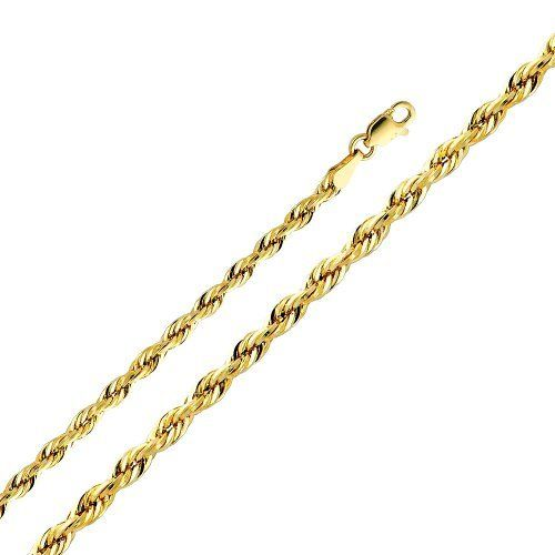 """14K Yellow Gold 3mm Diamond-Cut Hollow Rope Chain Necklace with Lobster Claw Clasp - 24"""" Inches The World Jewelry Center. Save 58 Off!. $279.00. High Polished Finish. Promptly Packaged with Free Gift Box and Gift Bag"""