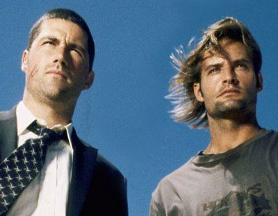 """Matthew Fox as Jack Shephard and Josh Holloway as James 'Sawyer' Ford from ABC's """"Lost"""""""