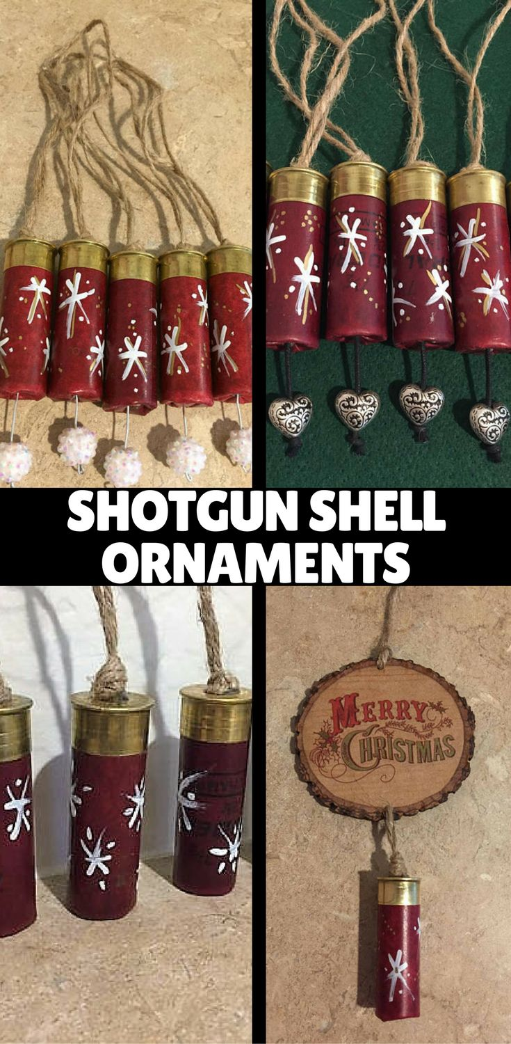 Hunting Ornaments for the Christmas Holiday! Unique Hand Painted Empty Shotgun Shells. Empty Brass Shells, Bullet Shell Casings, Empty Ammo Casings, Empty Brass Rounds, DIY Jewelry Craft Making, Steampunk Designs, Ammo Art www.etsy.com/shop/CraftSuppli
