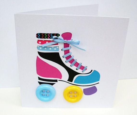 Rollschuh-Karte  Roller Skating Grusskarte  Hand Cut von Nikelcards