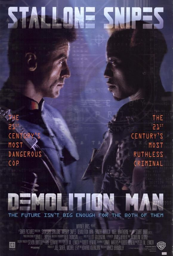 Demolition Man , starring Sylvester Stallone, Wesley Snipes, Sandra Bullock, Nigel Hawthorne. A cop is brought out of suspended animation in prison to pursue an old ultra-violent enemy who is loose in a nonviolent future society. #Action #Crime #Sci-Fi #Thriller