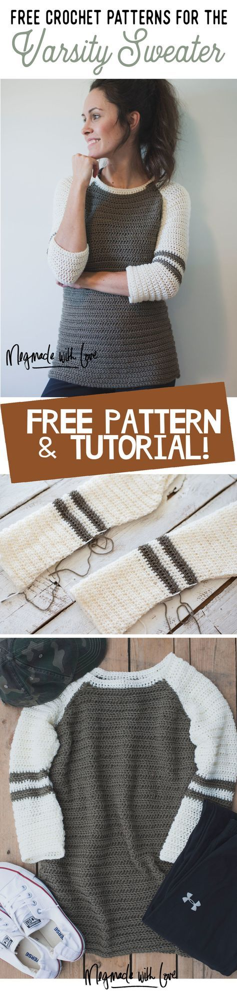 Free Crochet Pattern for the Varsity Sweater - Megmade with Love