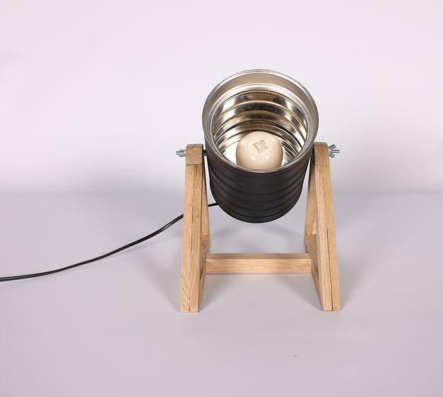lapetitemaison | Catálogo Lámpara de mesa, confeccionada con lata reciclada y base en madera de Roble o Roble Ahumado recuperado...