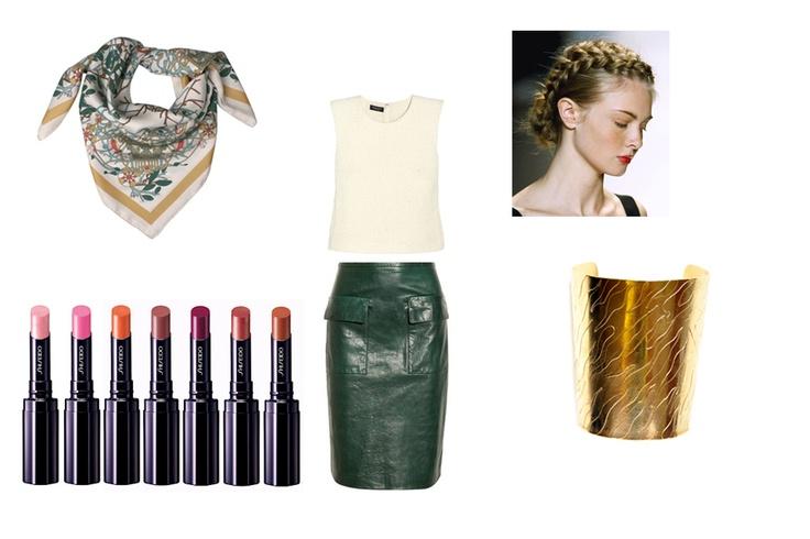 You can Buy NOW at www.ble-shop.com    Gris Neutre Trendy Scarf  Daniela Calcines Spectacular Cuff Bracelet    Other looks:    Phillip Lim Skirt  Giambatista Valli top  Shiseido lipsticks