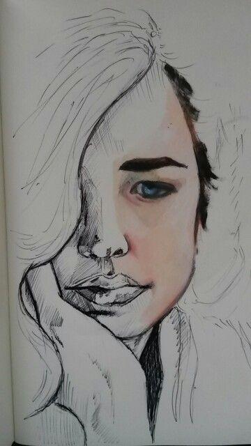 Original work. Ilandi Barkhuizen. Oil and pen on moleskin. 2015. Eva Green.