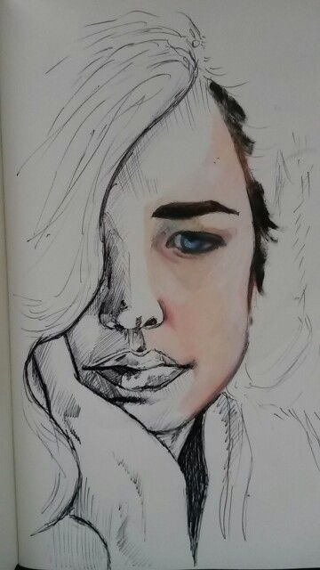 Original work. Ilandi Barkhuizen. Oil and pen on moleskin. 2015. Eva Green.