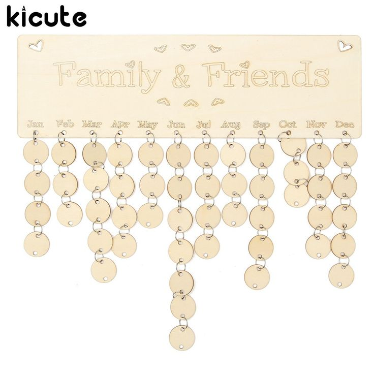Kicute DIY Wooden Birthday Calendar Board Family Friends Birthday Calendar Sign Special Dates Planner Board Hanging Decor Gift