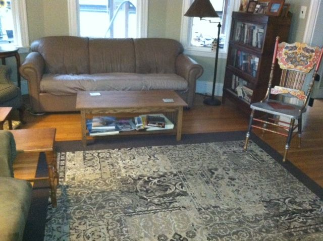 Living Room Rug With New Border Added. Pattern Is Reoriented In Pepper.  Border Is