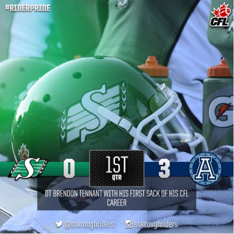 @sskroughriders: #Riders trail the #Argos after the 1st quarter 3-0. #CFLGameday 08/08/15