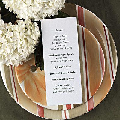 creating an impressive wedding reception menu