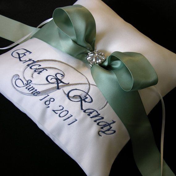Wedding Ring Pillow with Custom Embroidery by MondeDesign on Etsy,