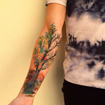 Magic Color Tree Tattoo - http://www.tattooideas1.org/placement/forearm/magic-color-tree-tattoo/