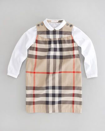 Check Dress & Button-Down Shirt by Burberry at Neiman Marcus.
